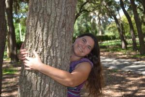 Niki hugging a tree - Healing community in St. Petersburg