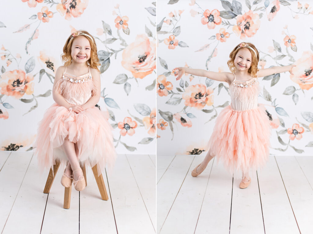 Tutu Du Monde children photography session with peach colored floral background. CB Studio Photography