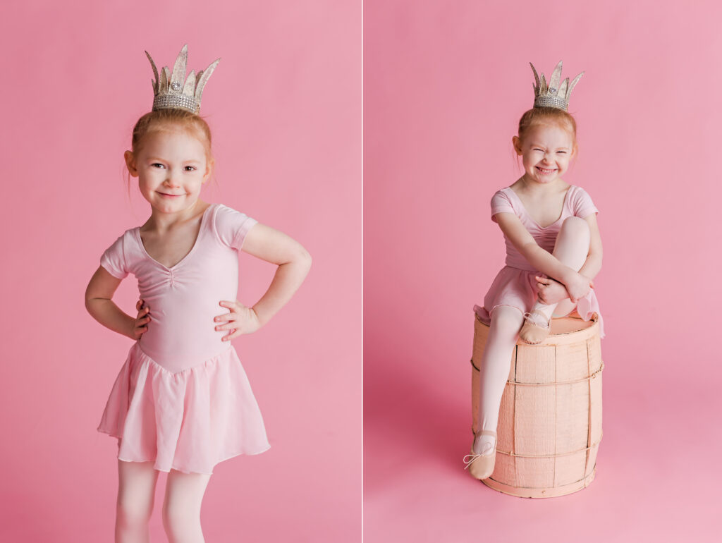Pink ballet inspired children photography session with crystal crown. CB Studio Photography