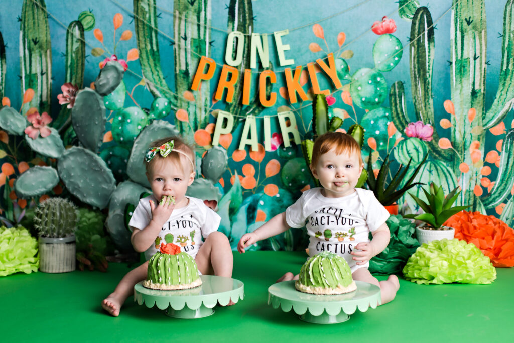 Twin boy and girl green cactus theme cake smash.