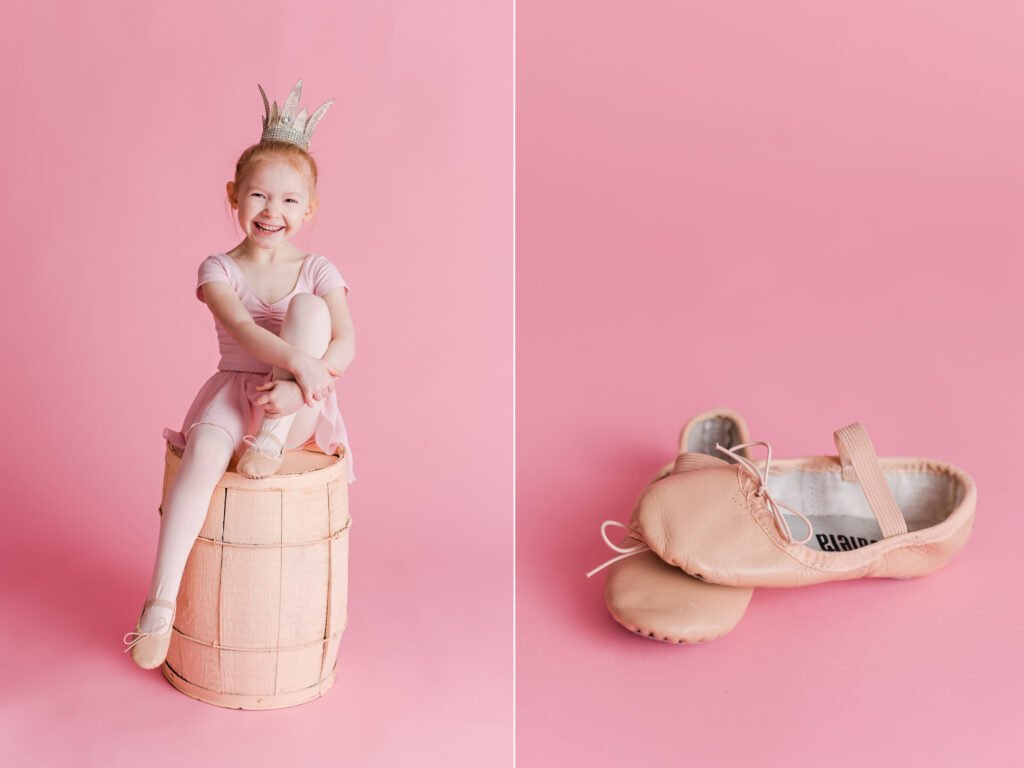 Pink ballet inspired children photography session with crystal crown and ballet slippers. CB Studio Photography