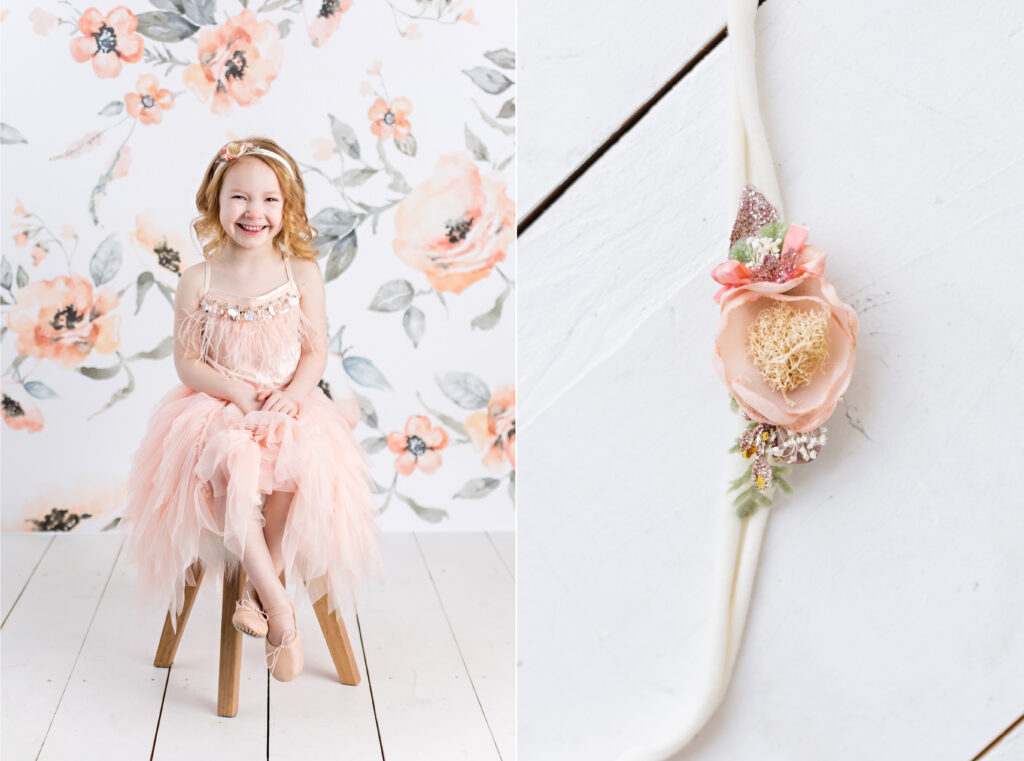 Tutu Du Monde children photography session with peach colored floral background and floral headband. CB Studio Photography