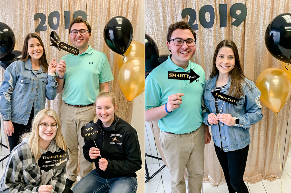 Senior grad party 4 seniors photo booth pictures with gold and black background with 2019 numbers.