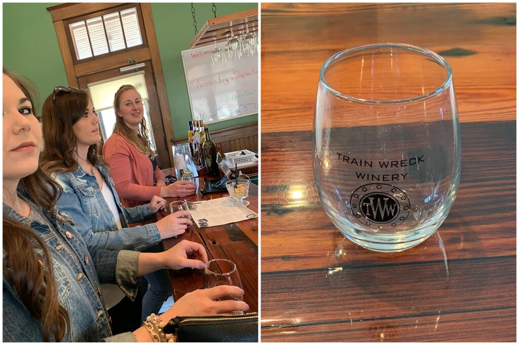 CB Studio Brides Reunion wine tasting event held at Train Wreck Winery in Algona, IA. Commemorative Train Wreck Winery glass.