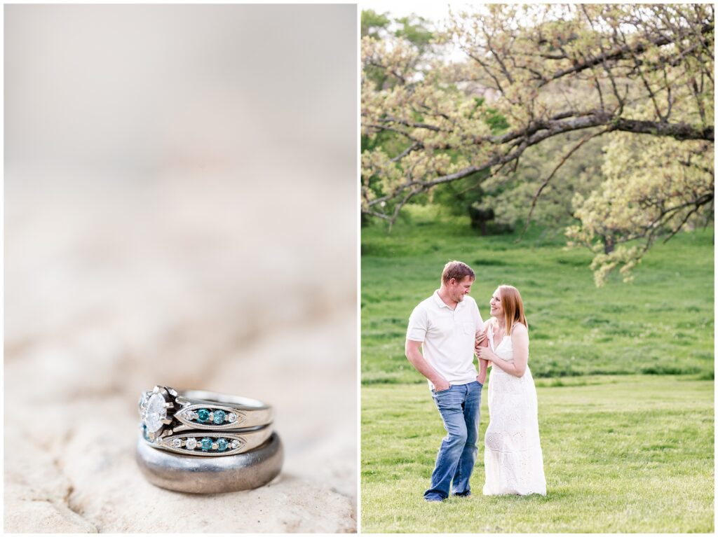 10 Year Anniversary Photo Session | Couples Poses | Engagement Poses | Pasture Session | Ring Picture | Iowa Wedding Photographer | CB Studio