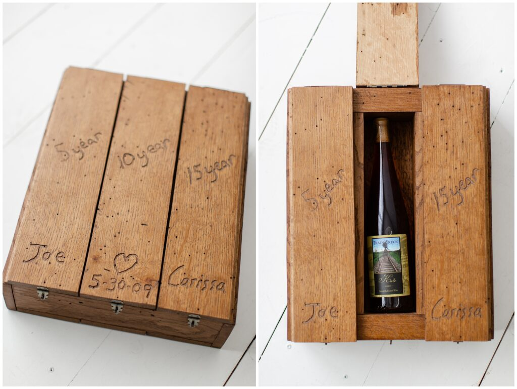 10 Year Anniversary Photo Session | Anniversary Gift Ideas | Wine Box | Iowa Wedding Photographer | CB Studio