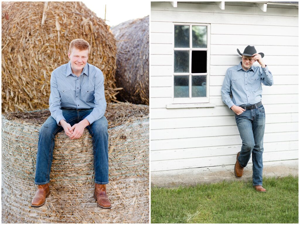 Senior photo on hay bales and white barn | Farm senior session | Iowa Senior Photographer | CB Studio