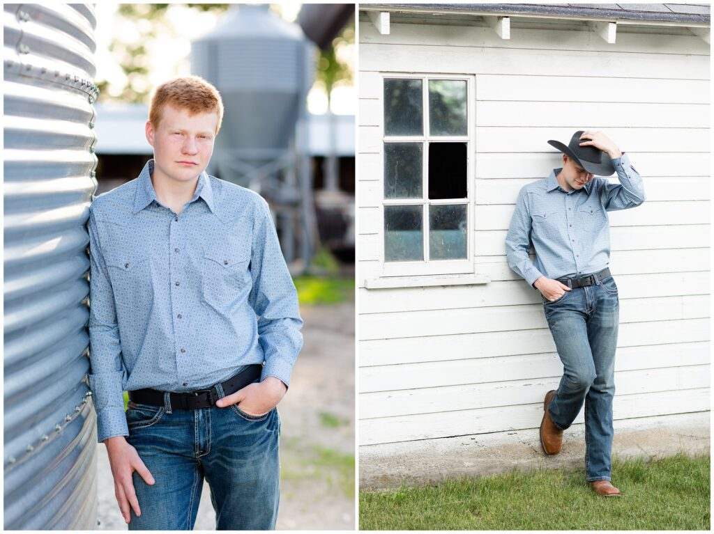 Senior photo by grain bin and white barn | Farm senior session | Iowa Senior Photographer | CB Studio