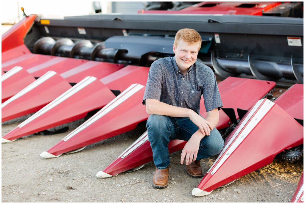 Senior photo with combine | Farm senior session | Iowa Senior Photographer | CB Studio