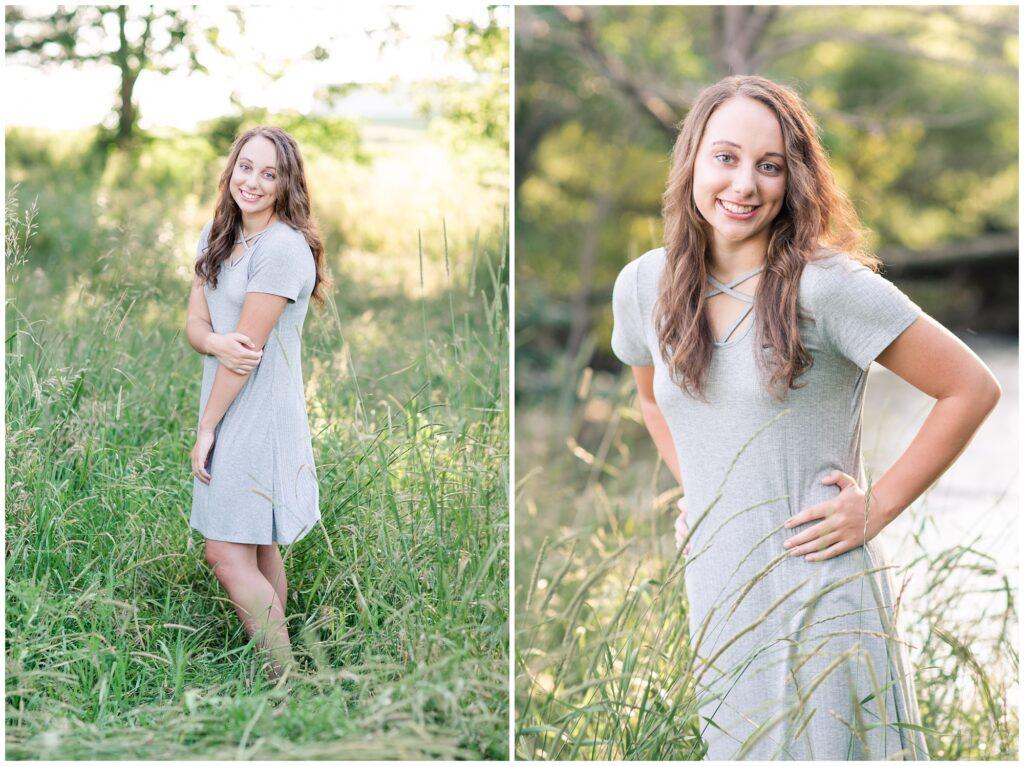 Senior photos open grassy field and river   senior poses   Iowa Senior Photographer   CB Studio