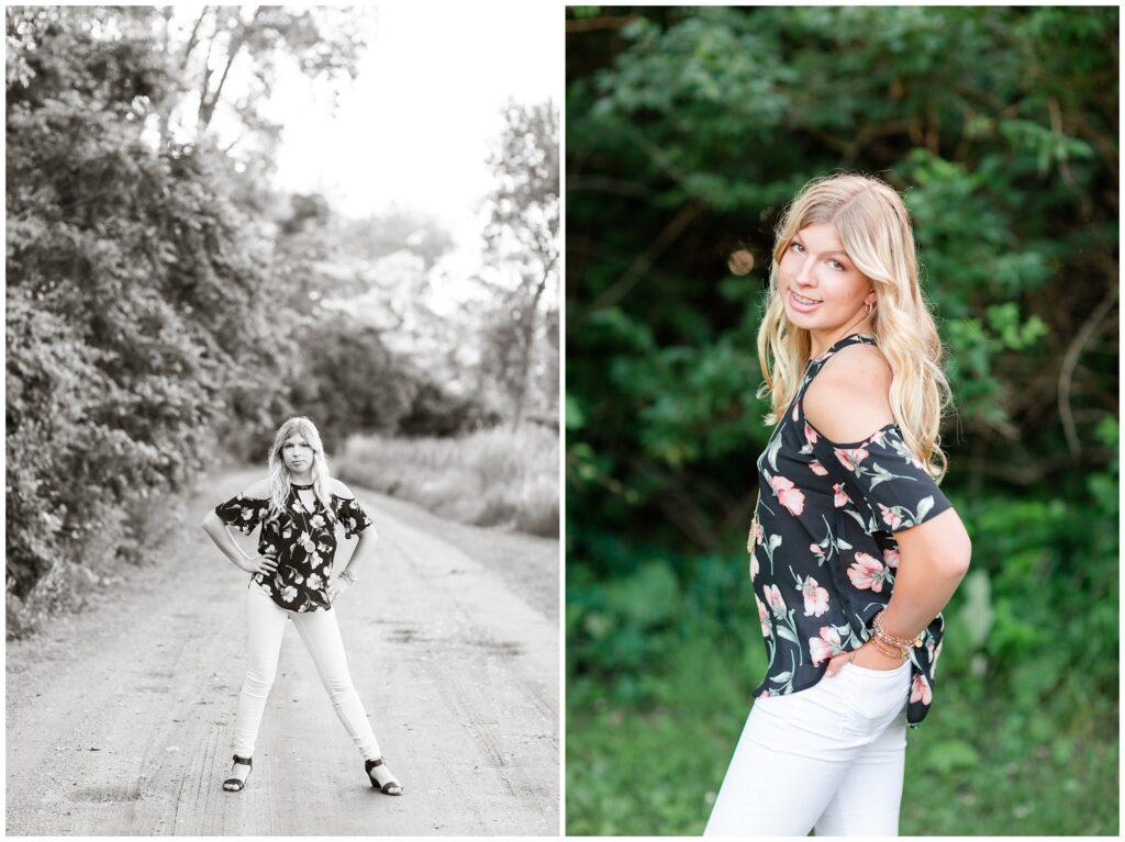Senior portrait session at a park during golden hour   Senior girl poses   Iowa Senior Photographer   CB Studio