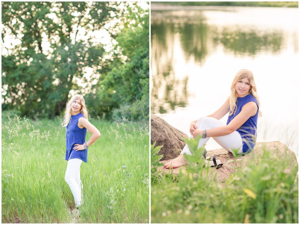 Senior portrait session at a park during golden hour   Senior girl poses in a grassy field   Senior girl poses by a lake   Iowa Senior Photographer   CB Studio