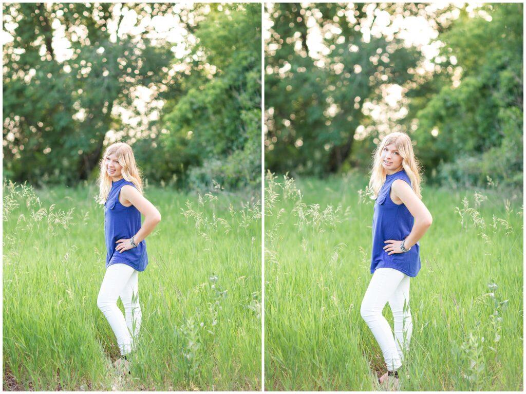 Senior portrait session at a park during golden hour   Senior girl poses in a grassy field   Iowa Senior Photographer   CB Studio