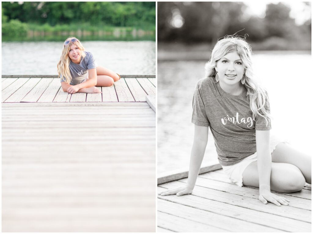 Senior portrait session at a park during golden hour   Senior girl poses on a dock   Iowa Senior Photographer   CB Studio
