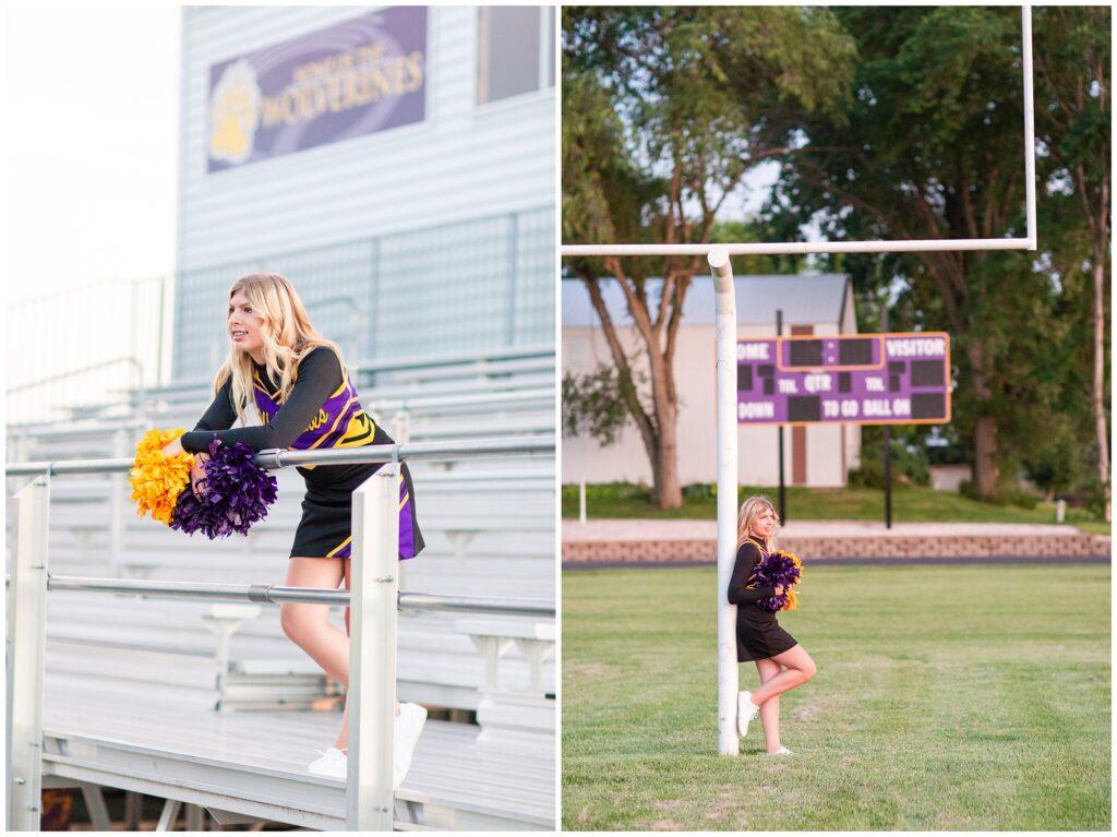 Senior portrait session at a park during golden hour   Senior girl cheerleading poses   Iowa Senior Photographer   CB Studio