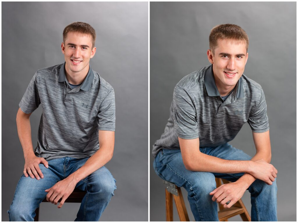 Senior boy poses in studio | Iowa Senior Photographer | CB Studio