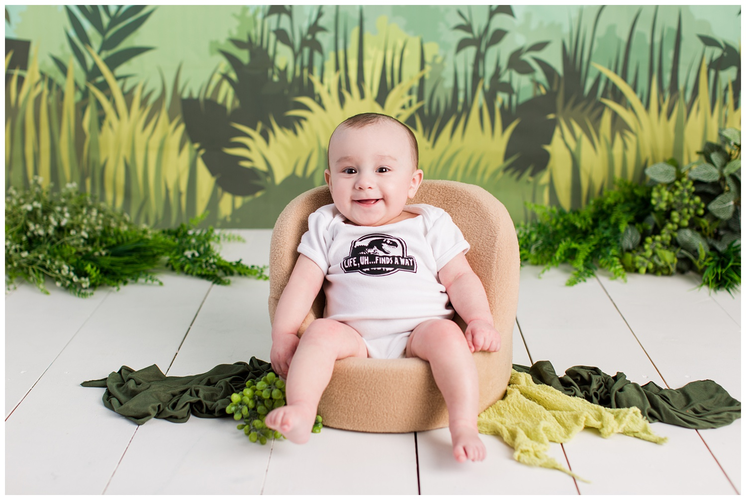 Jurassic Park themed sitter session 6 month old photos | Algona Iowa Baby Photographer | CB Studio