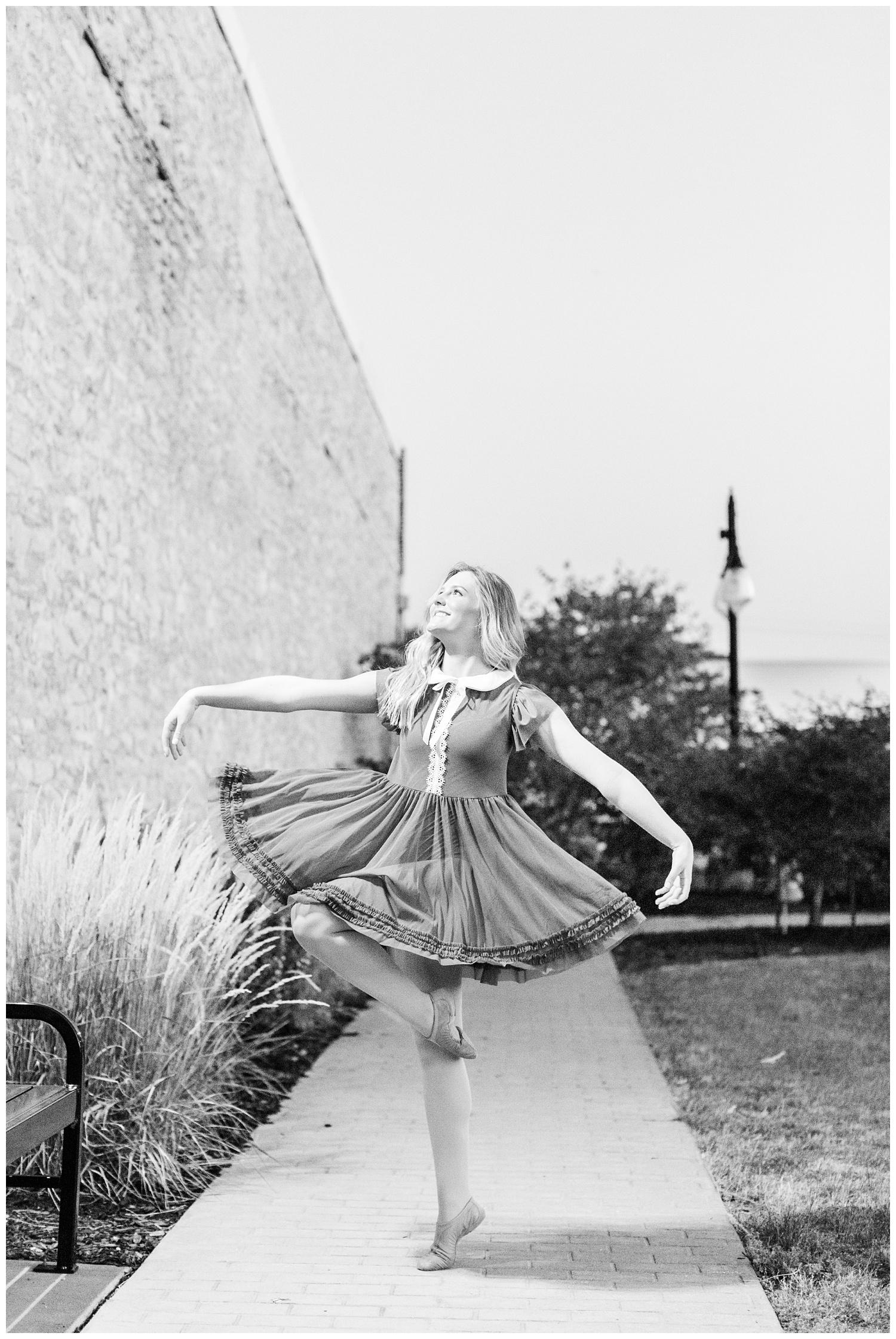 Senior dance photography girl performs in downtown Humboldt, Iowa | CB Studio