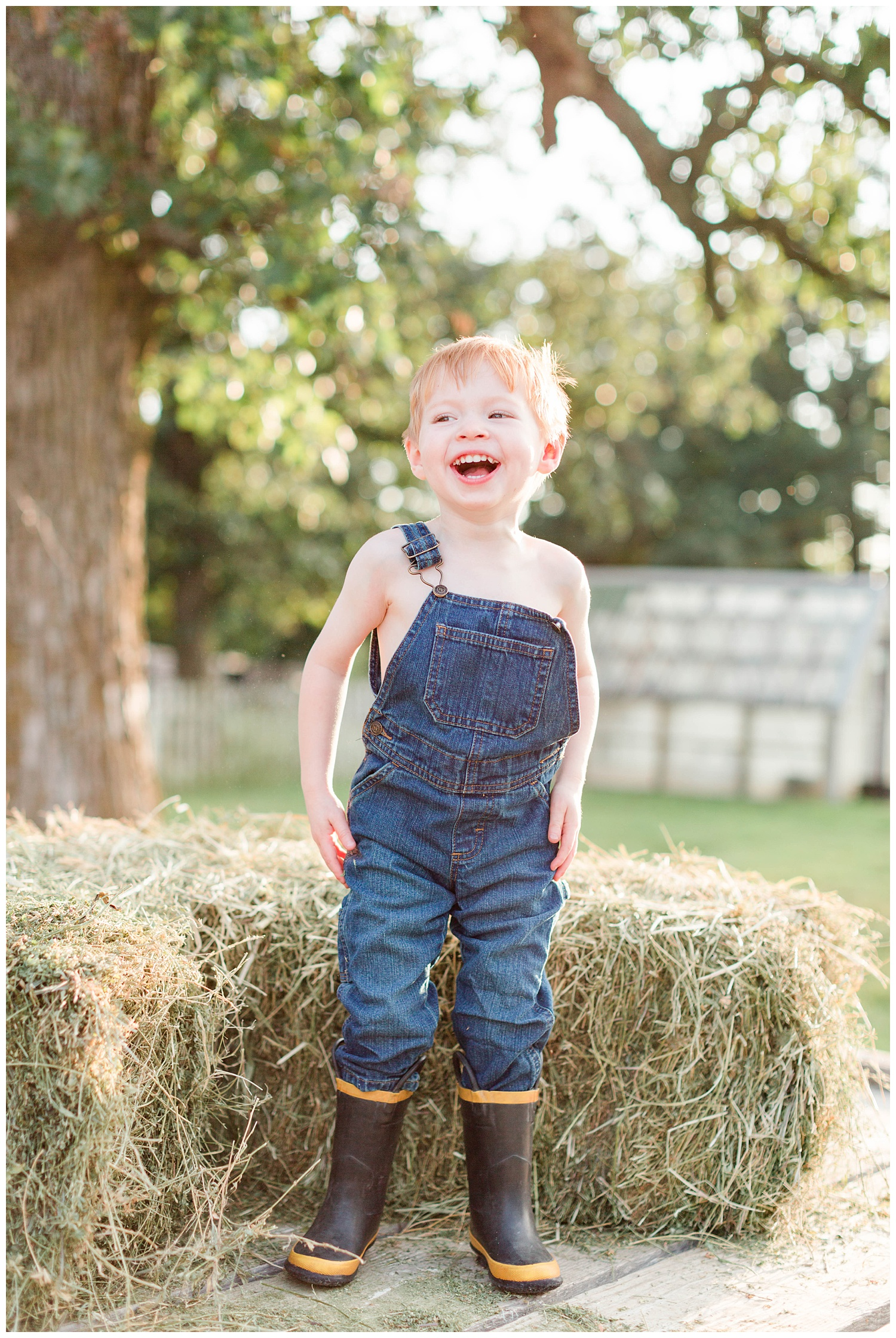 Little farm boy wearing overall bibs and boots laughing on the hay rack with hay bales | CB Studio