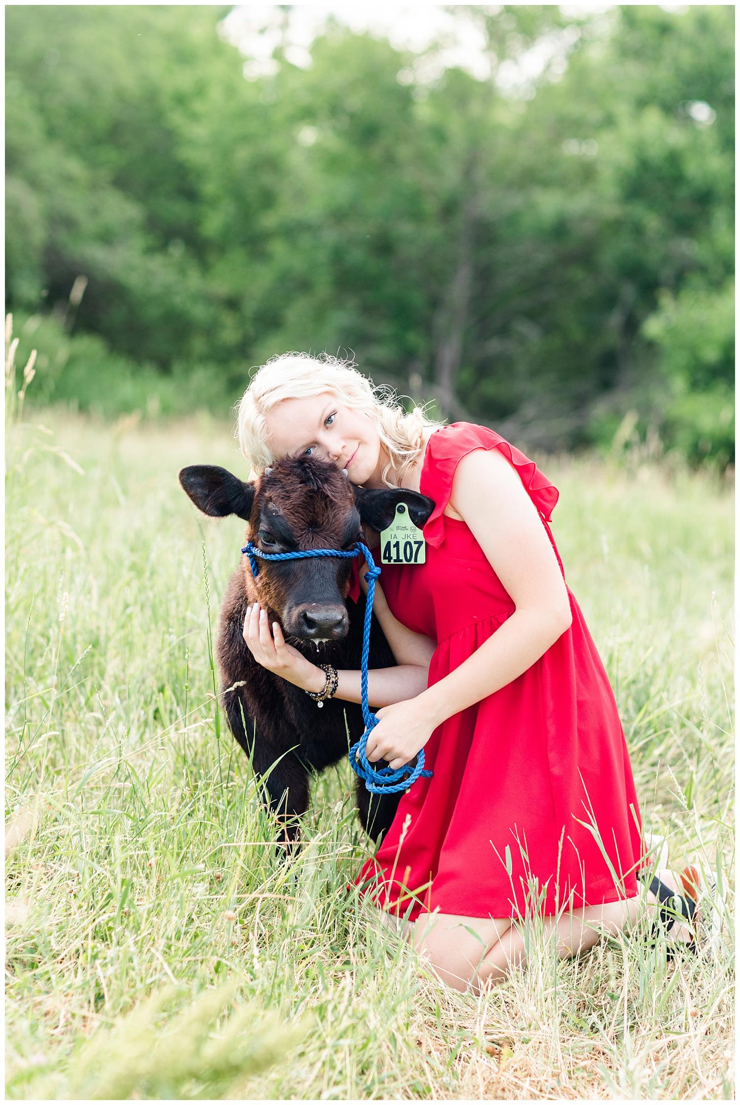 Senior girl Molly snuggles her baby calf in a grassy pasture   CB Studio