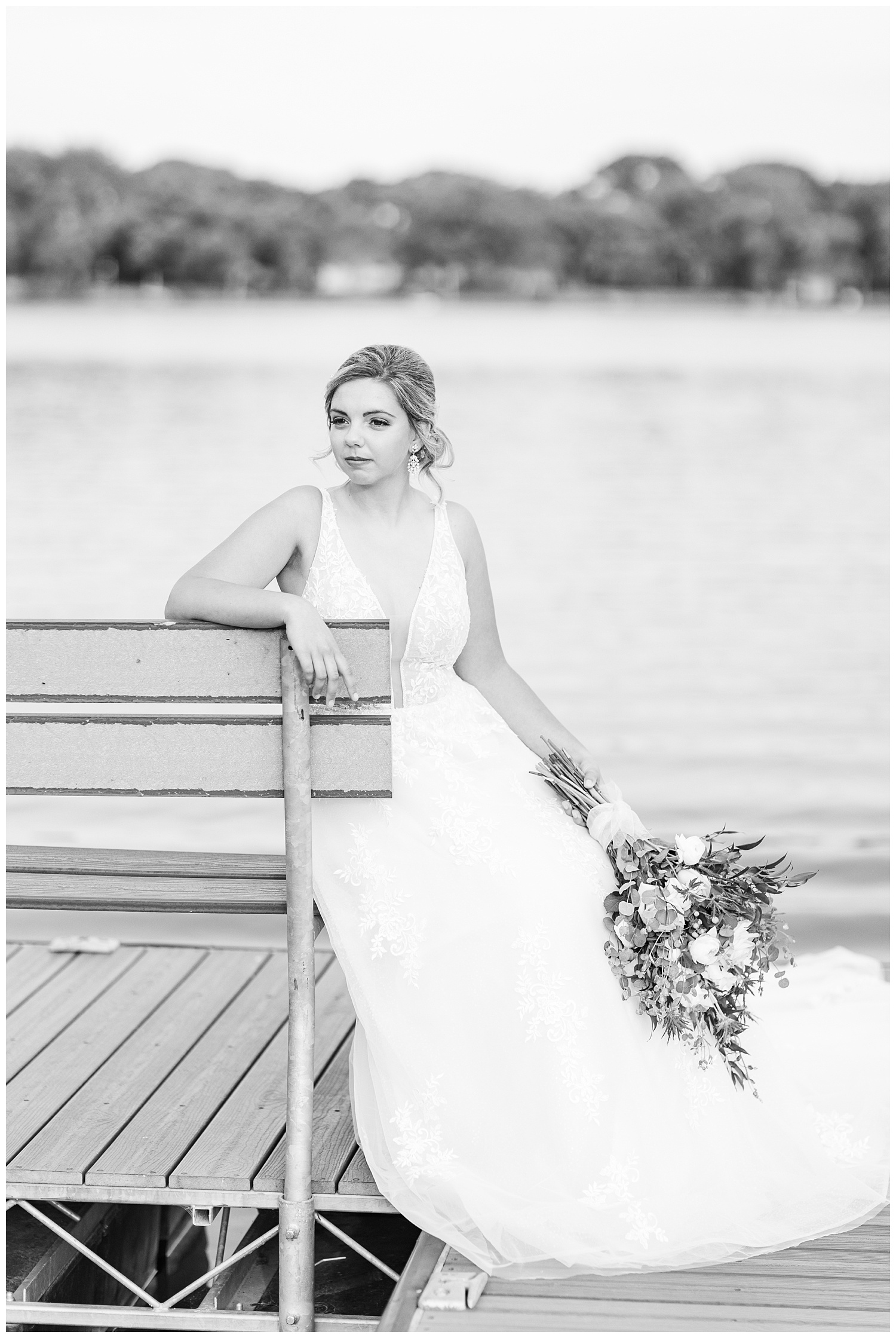 Beautiful bride waiting dockside at the Shores at Five Island | CB Studio