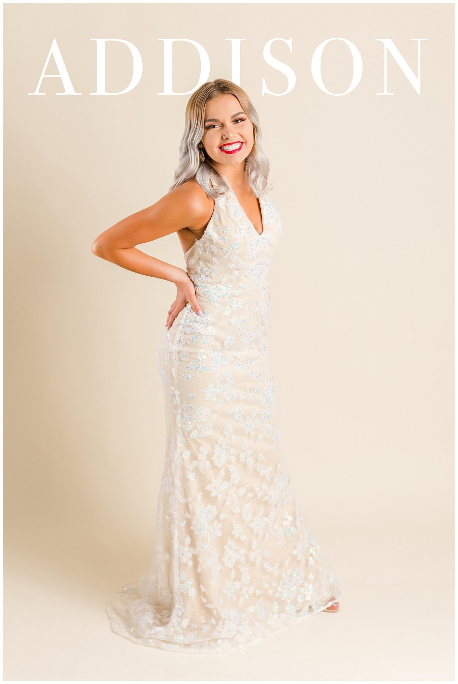 Addison poses in a Colette prom dress for a magazine cover | CB Studio