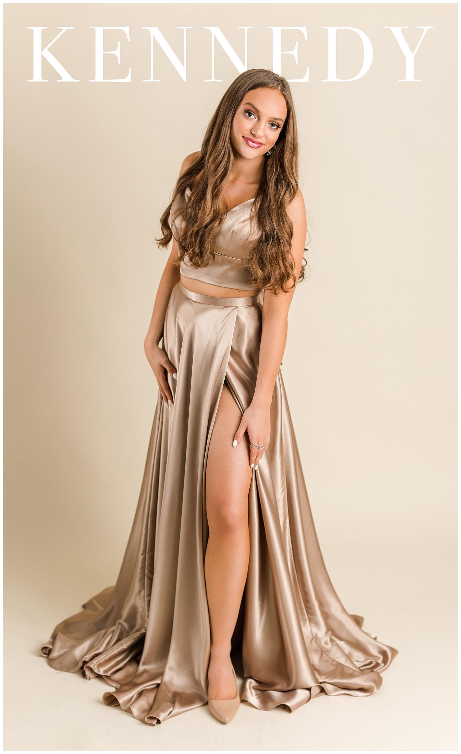 Kennedy poses in a Sherri Hill prom dress for a magazine cover | CB Studio
