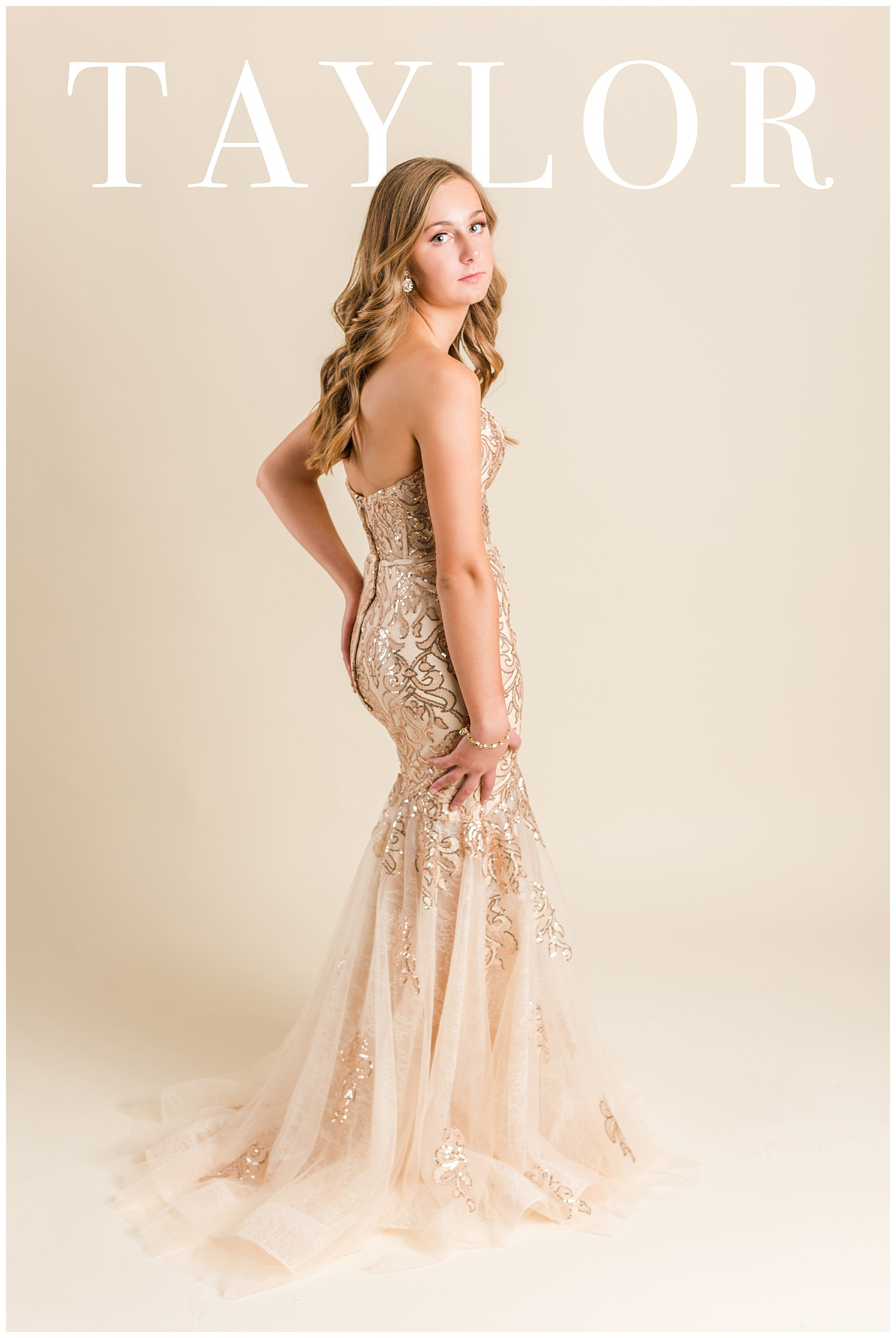 Taylor poses in a Morilee prom dress for a magazine cover | CB Studio