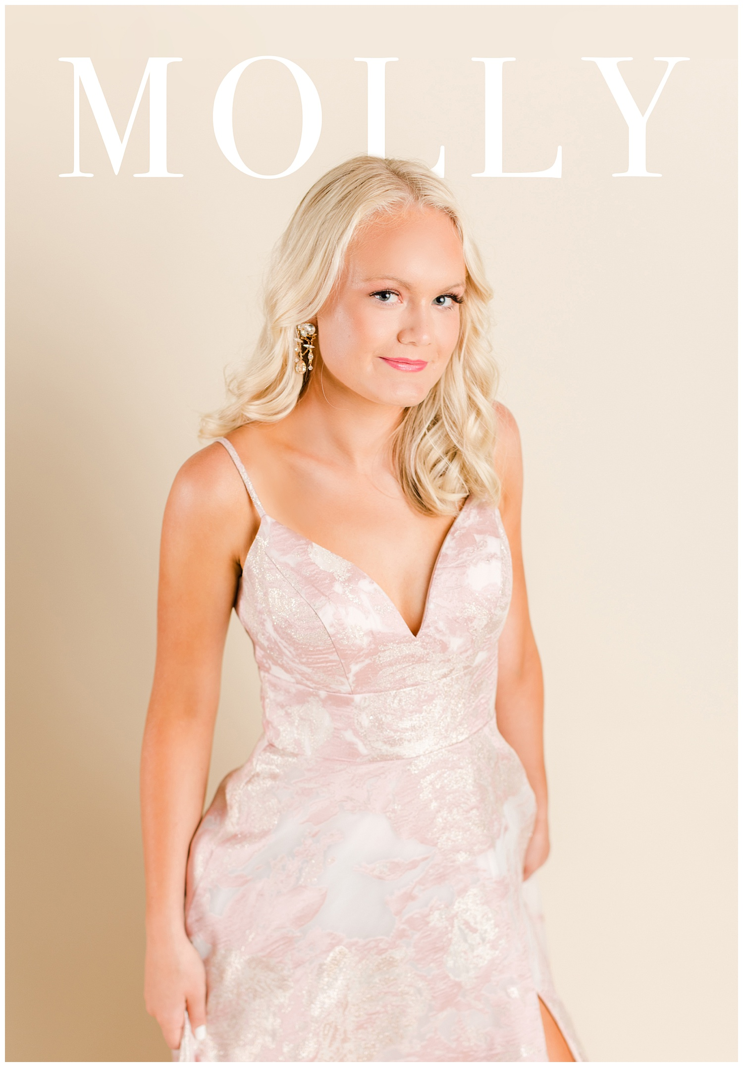 Molly poses in a Colette prom dress for a magazine cover | CB Studio