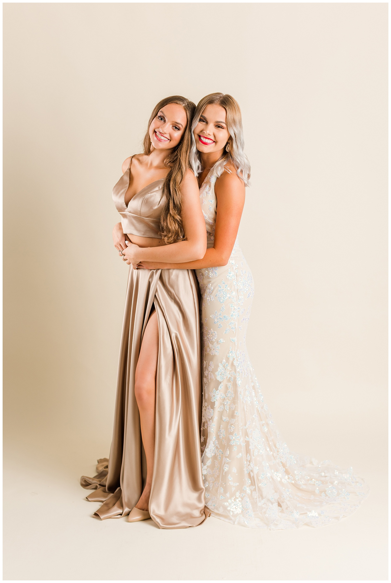 Addison poses in a Colette prom dress and Kennedy in a Sherri Hill prom dress for a magazine cover | CB Studio