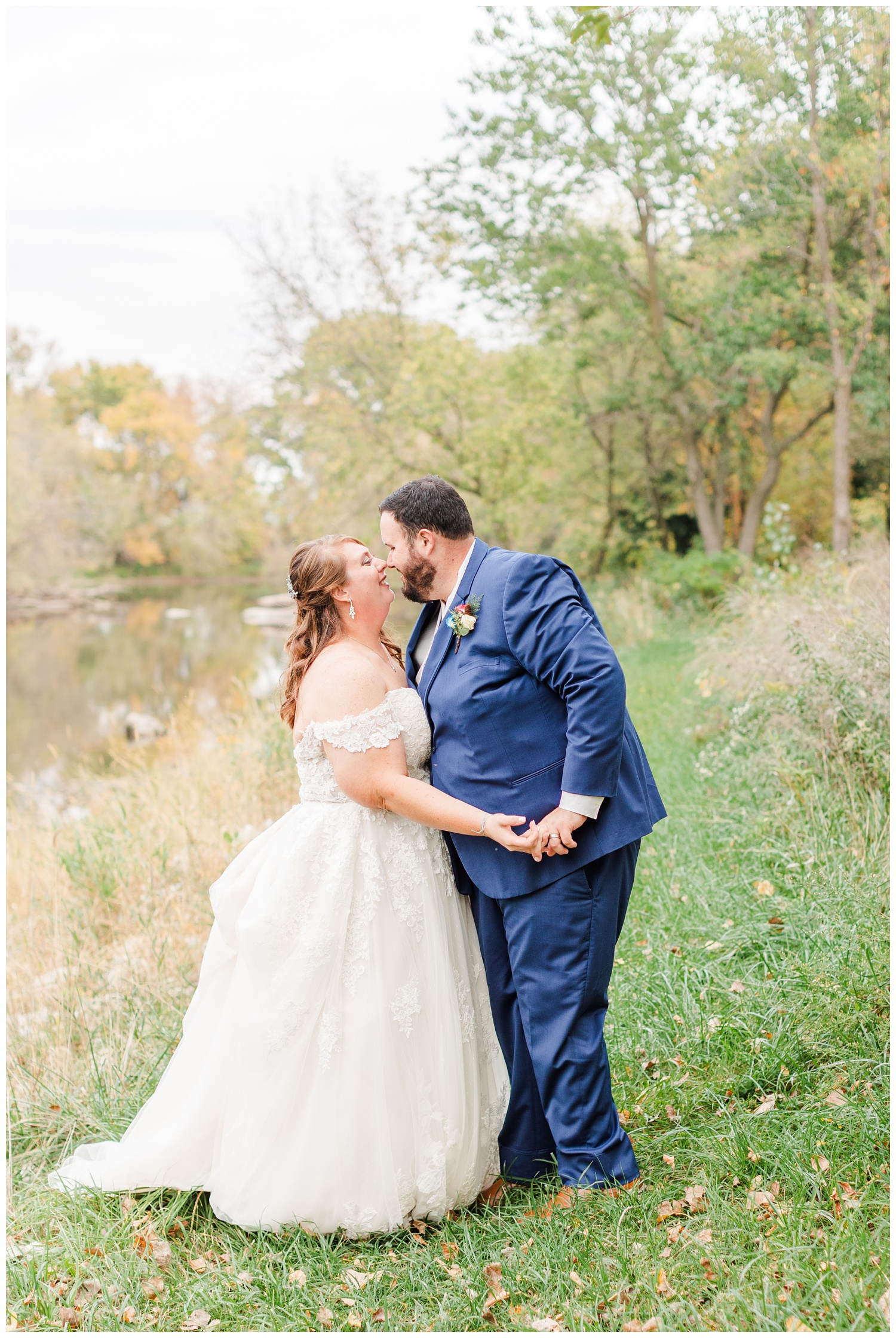 Bride and Groom dance along a river as a newly married couple | CB Studio