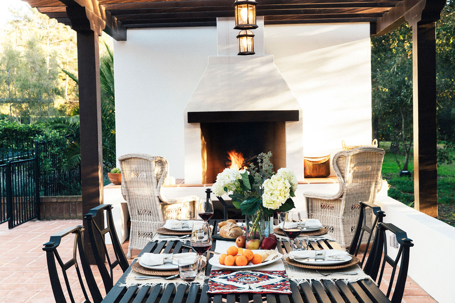 Outdoor Living Area with Fireplace and Pergola