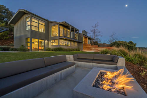 Evening Fireplace and Seating Area