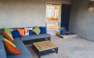 Contemporary Covered Patio Seating Area