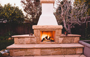 Outdoor Flagstone Fireplace Detail