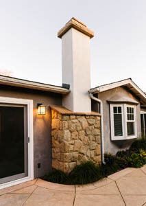 Stone and Stucco Fireplace Chimney