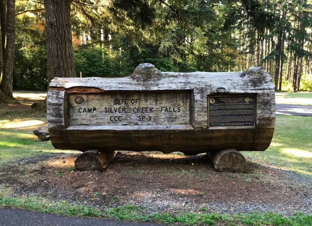 Log Memorial to Camp Silver Creek Falls SP-9