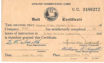 Unit Certificate Motor Vehicle Operation Eugene Hite