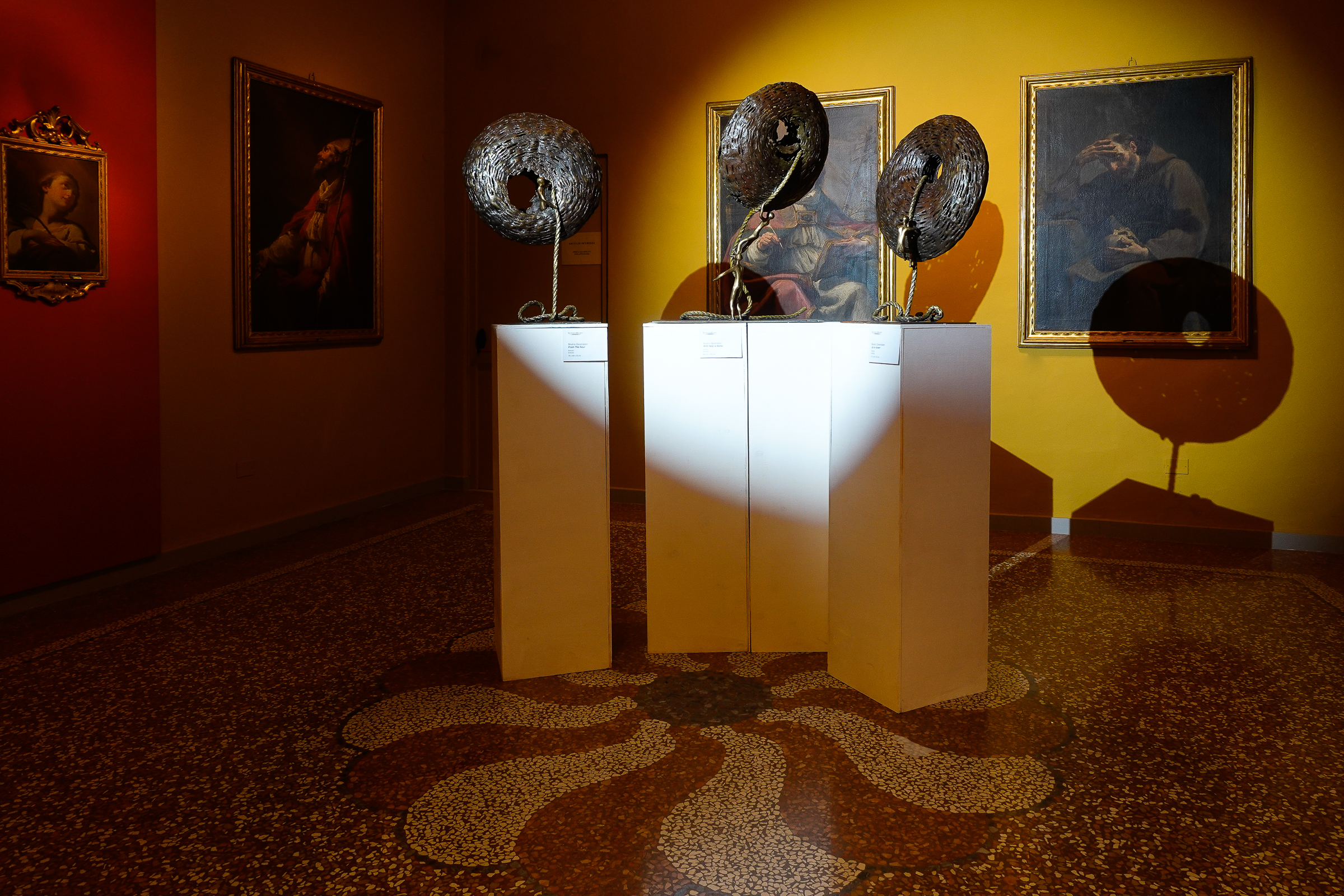 From the Soul, With Help is Better and Up or down, sculptures by Beatriz Gerenstein at the museum la quadreria in Bologna Italy