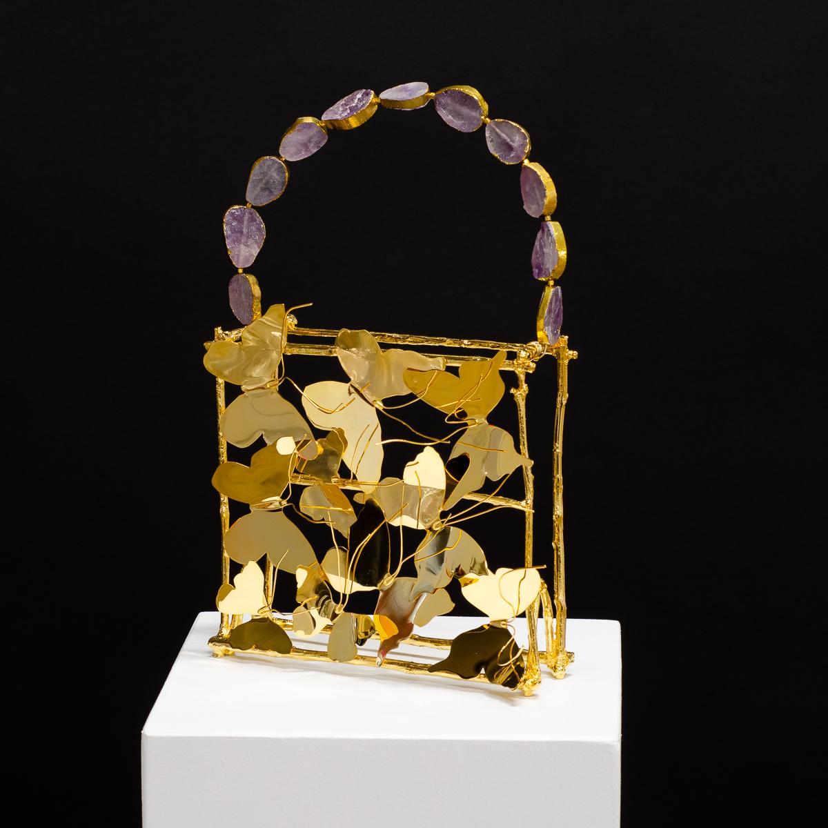 Sculpture by Beatriz Gerenstein. Handbag made in Bronze, 24K Gold, and Amethyst