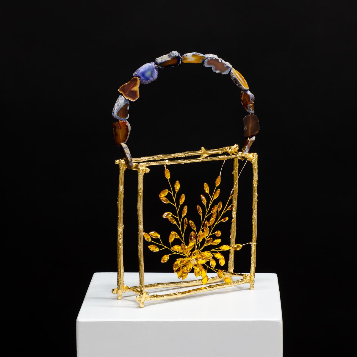 Sculpture by Beatriz Gerenstein. Handbag made in Bronze, 24K Gold, Citrines and Agate