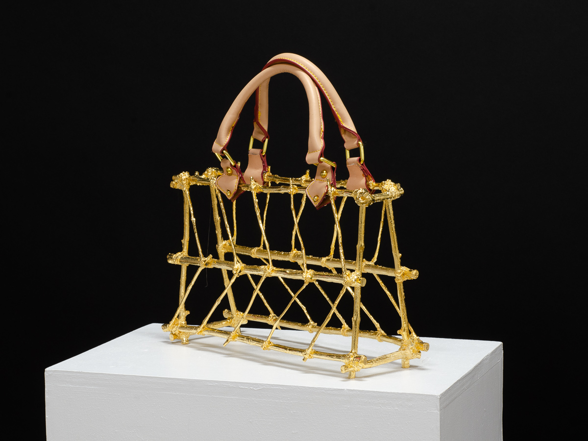 DARA, Sculpture by Beatriz Gerenstein. Handbag made in Bronze, 24K Gold, with leather straps, and accessories
