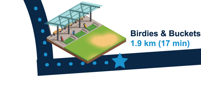 Birdies & Buckets 1.9km (17 min walk)