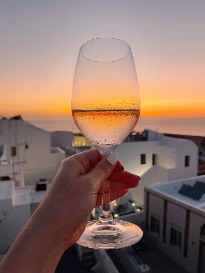 The view from Naos Santorini sunset