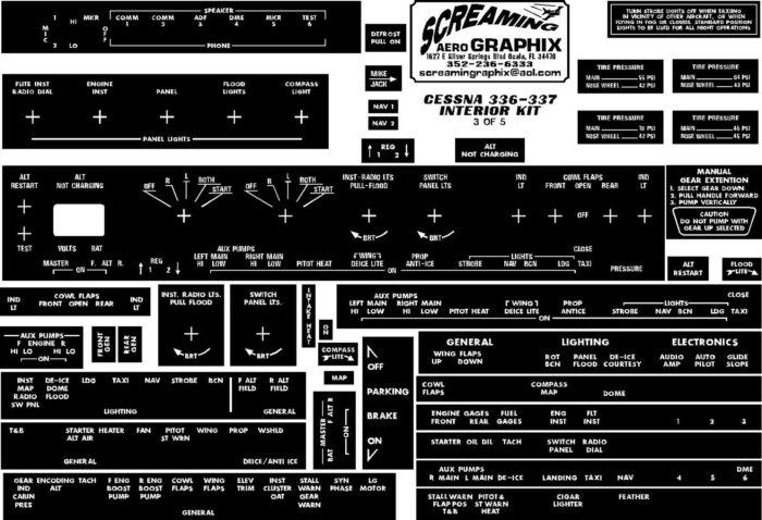 Cessna 336-337 Skymaster Interior Placard