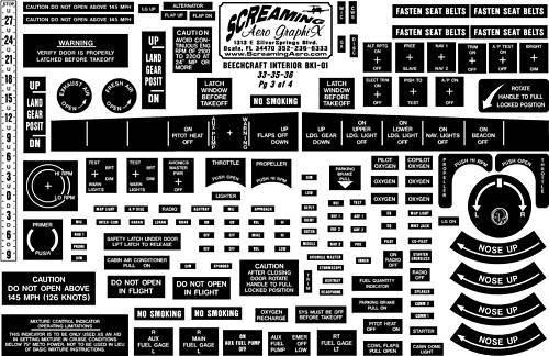 Beechcraft 33-35-36 4 Pg Interior Placard Kit