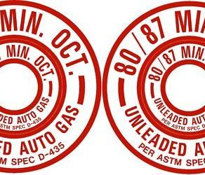 PAIR 80/87 Unleaded Auto Gas Fuel Placard