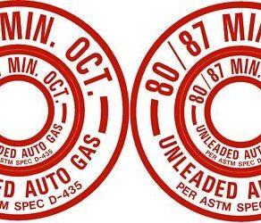 PAIR 80/87 Unleaded Auto Gas Fuel Placard