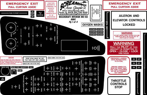 Beechcraft Duke Interior Placard Kit 4pg.