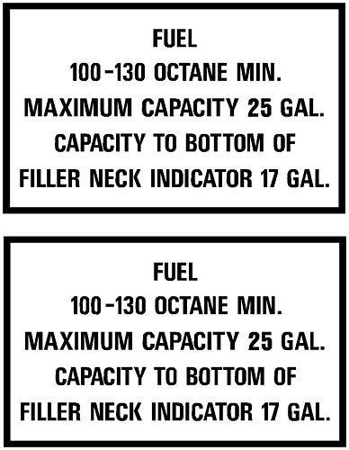 Piper PA28 25 Gal Fuel Placard Pair